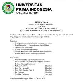 Lowongan Staff Administrasi Fakultas Hukum UNPRI