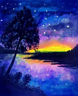 Acrylic Painting River side Night Portrait