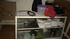 Etalase kaca/etalase kedai makanan/lemari kaca bakmi/etalase bakmi