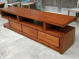 Bufet tv minimalis laci 3 moderen, p.180cm, bahan kayu jati terbaik