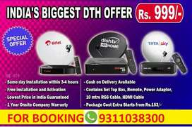 NEW AIRTEL DTH,TATA SKY ,DISH TV WITH INSTALLATION START RS 999