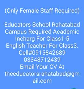 Academic Incharg/Class3 teacher required female