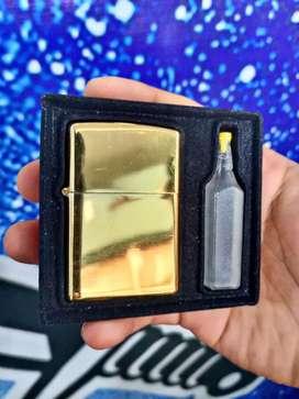 Korek api Zippo minyak set gold metalik