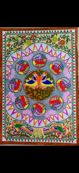 MADHUBANI PAINTING PEACOCKS IN ORCHARD