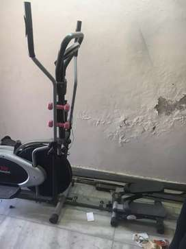 Spinning bike with cross trainer