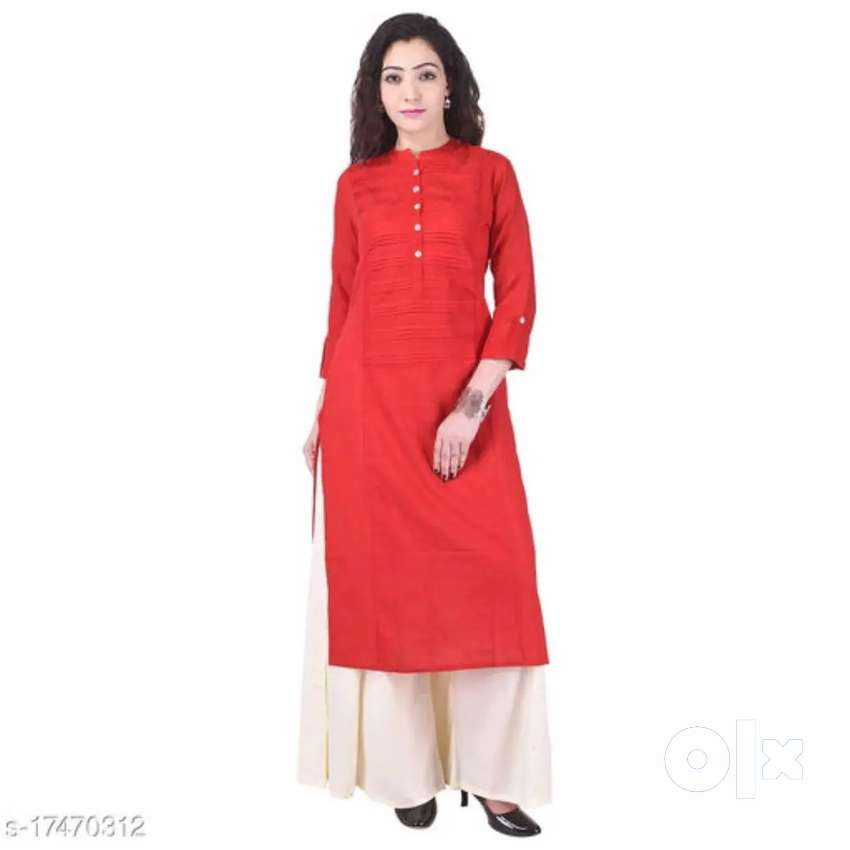 MJ Textiles Women's Cotton Solid Straight Pink Kurti Fabric