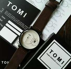 jam tangan tomy original strap dark brown unique include complete 40mm