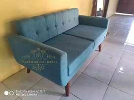 Sofa retro 2seater kain jok dafni