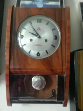 Antique wall clock 30 Days pendulum brass wooden box