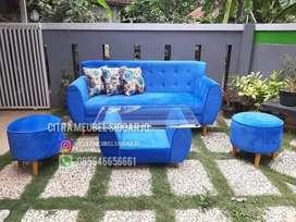 Sofa retro seater 3 triple puff
