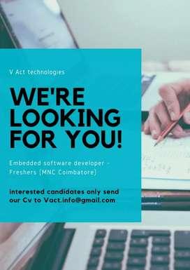 Embedded software developer -freshers(MNC Automotive, Coimbatore