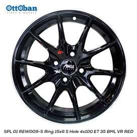 JUAL VELG REW009-5 15x6 5 H4x100 Et 35 67,1 BLACK MACHINE LINE VR RED,