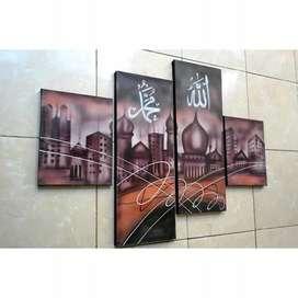 Lukisan kaligrafi 1set 4 kanvas