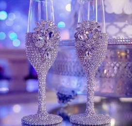 Wedding milk glass