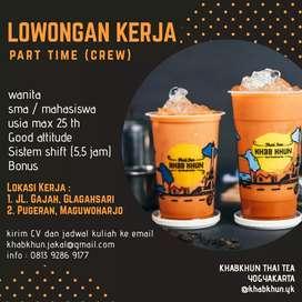 LOWONGAN KERJA KHABKHUN THAI TEA (part time)