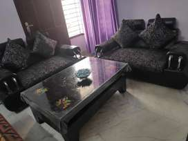 Black Sofa and Black glass table - Almost New - Very Good Condition