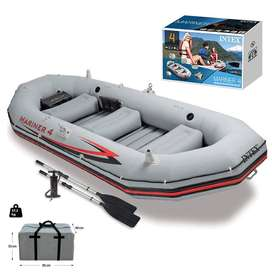 Inflatable Kayaking Dinghy Fishing Boat Set, 5 Person Boat with 2 Oars