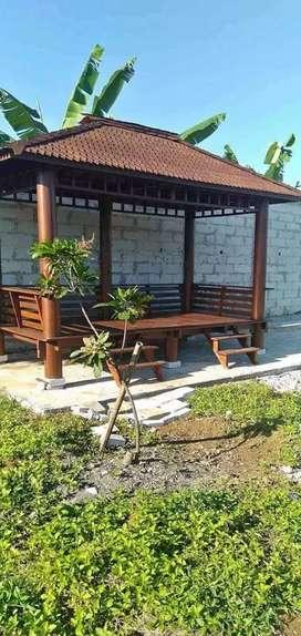 Saung gazebo kayu kelapa Ukuran 2x3m free ongkir dan pasang