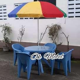 OK MEBEL^ SET Meja Makan Jualan Kafe Cafe 4 Kursi Napolly Pekanbaru