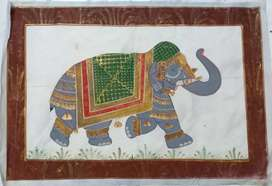 Indian miniature/Elephant/hand painted on silk