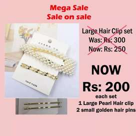Large Pearl Hair clips set on sale