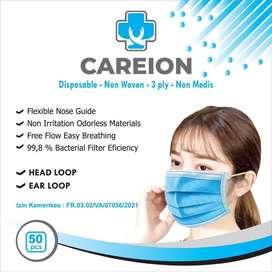 Masker careion 3ply earloop isi 50pcs biru