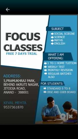 Tuition class for standard 5 to 8 English medium