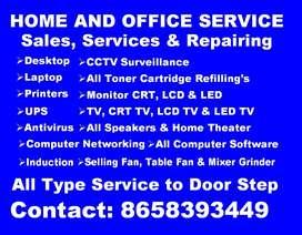 All type repairing Servicing Desktop laptop printers CCTV Surveillance