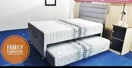 Springbed Bed Dorong Kombinasi White & Blue Minimalist