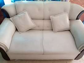 Grey leather 7 seater sofa set.