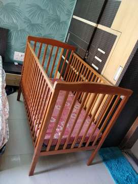 Baby Cot - Wooden - With Big Mattress.