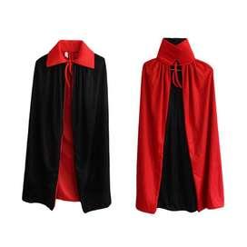 Jubah dracula ukuran anak vampire merah hitam Halloween kostum cosplay