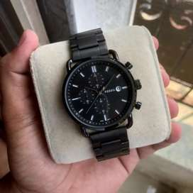 Refurbished black fossil chain watch CASH ON DELIVERY price negotiable