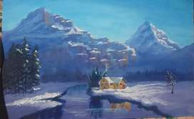Arcylic painting /beautiful/ snowy morning painting  for sale