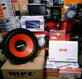 Plus Pasang,Komplit, Subwoofer+Power4ch+Box+Kabel2+Doubledin TV+Antena