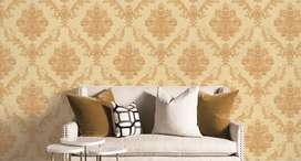 Damask wallpaper wooden floors blinds 3d mural wall picture