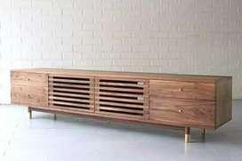 Meja tv retro moderen, p. 150cm, bahan kayu jati terbaik