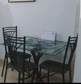 Dining Table (3 Chairs) 4th Chair (Damage - repairable)
