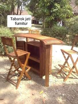Meja bar lipat kursi 3 modoren & elegan, bahan kayu jati tua asli