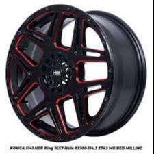 velg racing type>KONGA 5141 HSR R16X7 H8X100-114,3 ET42 BK/RED MILLING