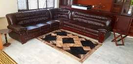 Leather fantastic Sofa Brown corner sofa bed dining AllHome furniture