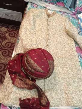 Groom Sherwani in pure masoori fabric...