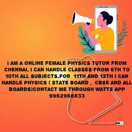 TUTORING ONLINE SCIENCE AND PHYSICS FOR 6TH TO 12TH