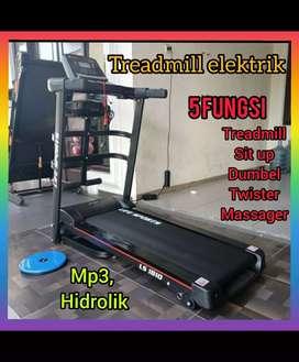 treadmill elektrik 5 fungsi alat fitnes gym