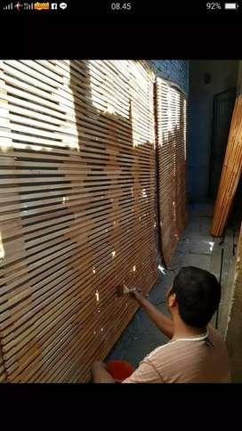 Tirai kayu dan tirai bambu