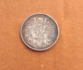 1916 old rare silver one rupee coin