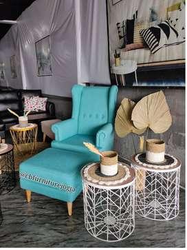 wing chair set, warna biru muda