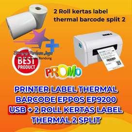 PRINTER LABEL THERMAL EPPOS EP9200 USB + 2 ROLL KERTAS LABEL SPLIT 2 1
