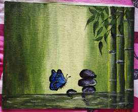 Butterfly in green Bamboo forest- canvas painting