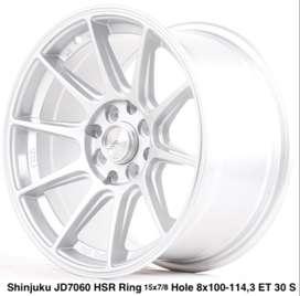 FREE ONGKIR VELG SHINJUKU JD7060 HSR R15X7/8 H8X100-114,3 ET35/30 SILV